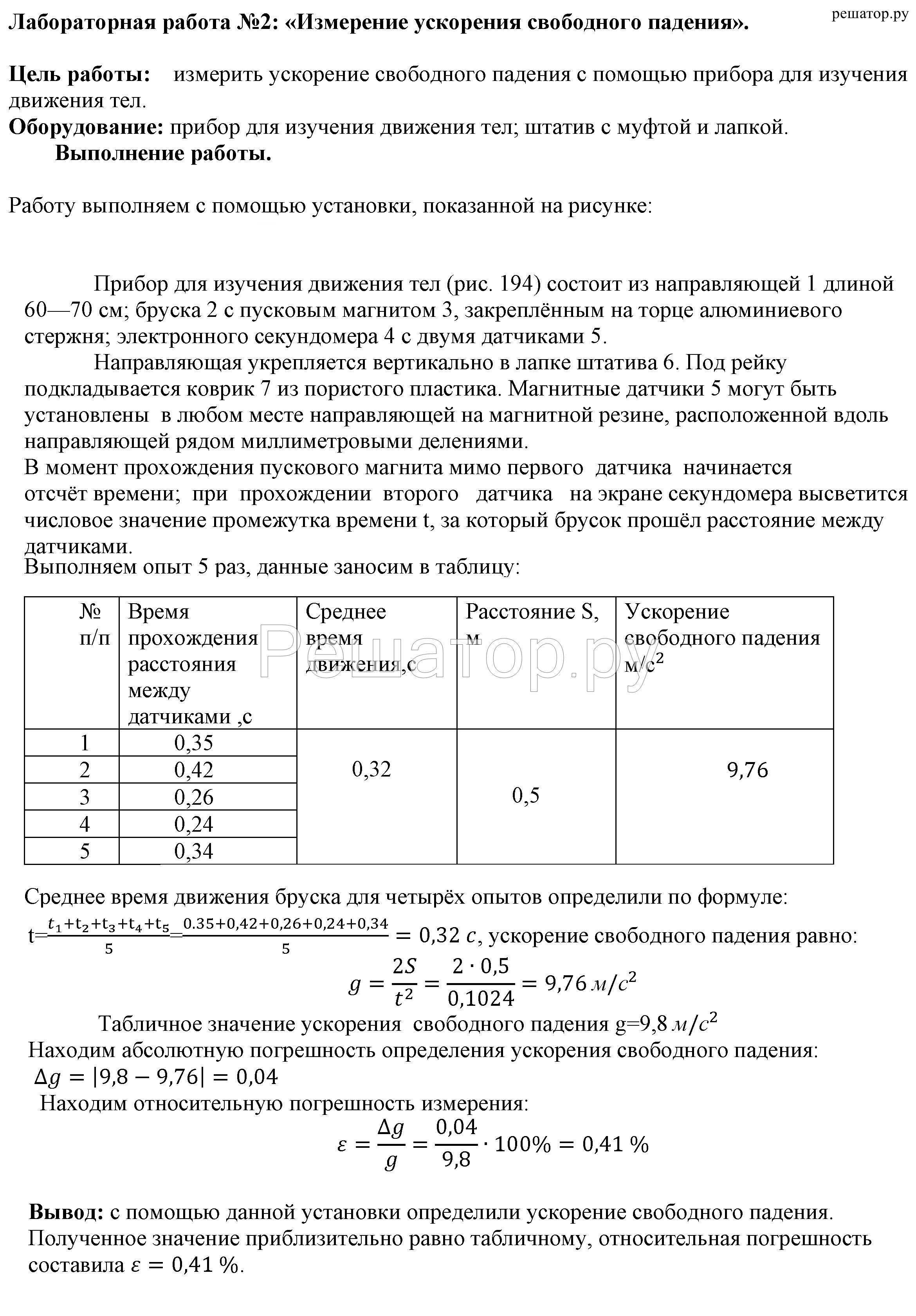 публикуется определение ускорения свободного падения лабораторная работа вывод поездов Лазаревская